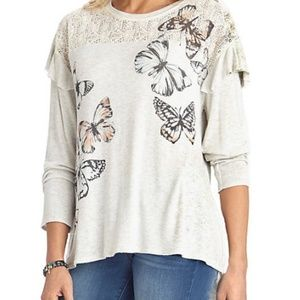 Democracy Long Sleeve Lace Yoke Top